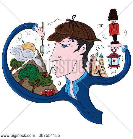 Sherlock Holmes Is The London Detective. Vector Clip Art Illustration.
