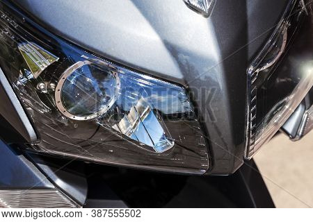 Front Headlights Of Modern Motorcycle.