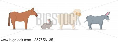 Set Of Farm Animals And Birds In Trendy Flat Style. Collection Of Cartoon Characters Isolated On Whi