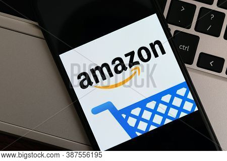 Krakow, Poland - September 30, 2020: Amazon Application Sign On The Screen Smartphone. Amazon Is The