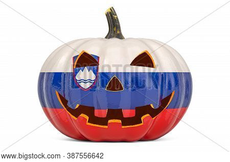 Halloween In Slovenia Concept. Evil Carved Pumpkin With Slovenian Flag, 3d Rendering Isolated On Whi