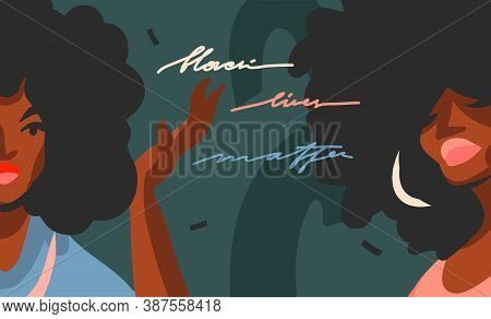 Hand Drawn Vector Abstract Flat Stock Graphic Illustration With Young Black Afro American Beauty Wom