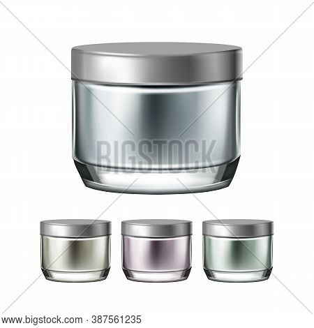 Night Cream Elegant Jar Collection Set Vector. Moisturizing Cosmetics Cream Blank Packages. Protecti