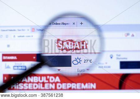 New York, Usa - 29 September 2020: Sabah Sabah.com.tr Company Website With Logo Close Up, Illustrati