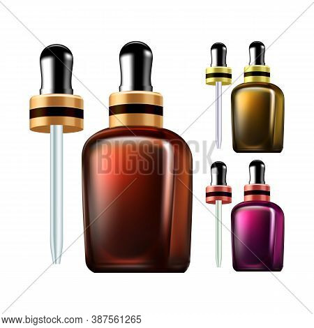 Essential Oil Bottles With Pipette Set Vector. Nature Skin Care Tincture Blank Glass Bottles Collect