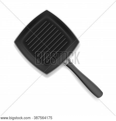 Realistic 3d Detailed Frying Pan With Handle For Cooking And Fry. Vector Illustration Of Black Metal
