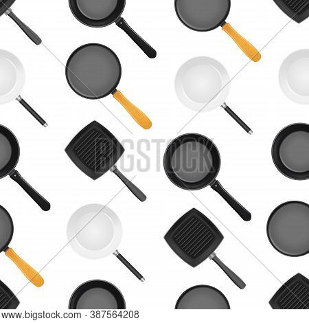 Realistic 3d Detailed Frying Pan With Handle Seamless Pattern Background For Cooking And Fry. Vector