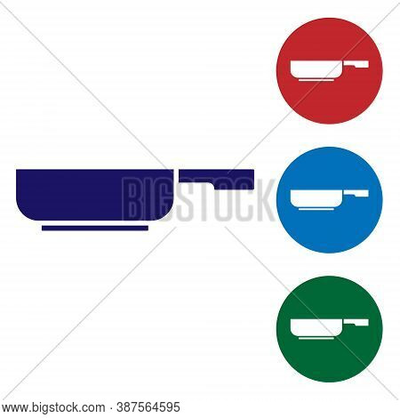 Blue Frying Pan Icon Isolated On White Background. Fry Or Roast Food Symbol. Set Icons In Color Squa