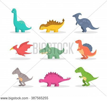 Funny Set Of Cartoon Dinosaurs Isolated On White Background. Fantasy Cartoon Colorful Prehistoric Ha