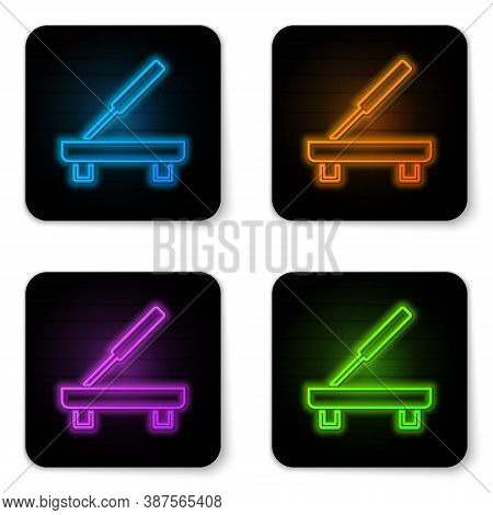 Glowing Neon Scented Spa Stick On A Wooden Stand Icon Isolated On White Background. Incense Stick. C