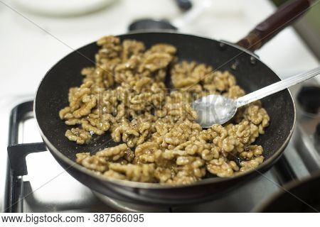 Bunch Of Nutrient Fresh Walnuts Without Shell.