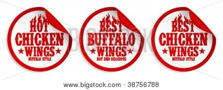 Best hot chicken wings stickers set.