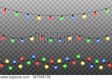 Christmas Lights String Vector. Transparent Effect Decoration Isolated On Background. Glowing Lights