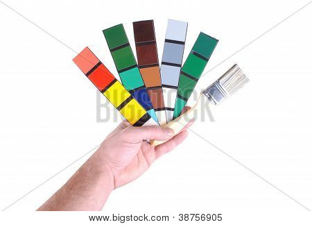 man hand with color sample and paint isolated on white background