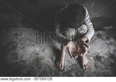 Children Violence And Abused Concept, Stop Violence And Abused Children,  Human Rights Violations, H