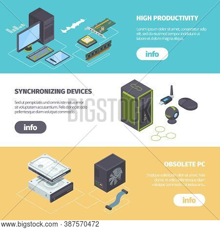 Computer Components And Gadgets Isometric Horizontal Banner. Powerful Ram Processor Speed Up Pc Webc