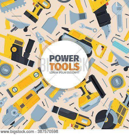 Power Tools Background. Yellow Reversible Screwdriver Modern Grinder Black Metal Disk Powerful Cordl