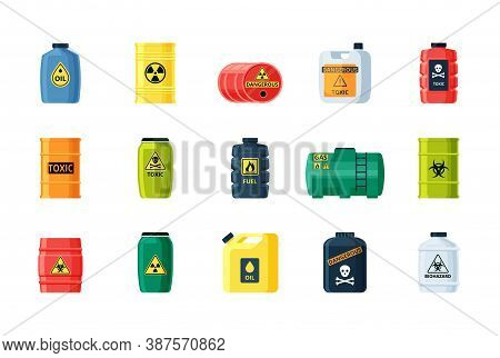 Containers Toxic And Chemical Substances Set. Dangerous Iron Containers With Radioactive Waste Stora