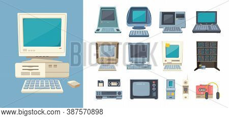 Retro Pc And Electrical Devices Set. Gadgets With Builtin Case Loaded From Floppy Disks Tube Tv Cass