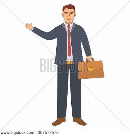 Satisfied Businessman With A Briefcase. Character Office Staff.