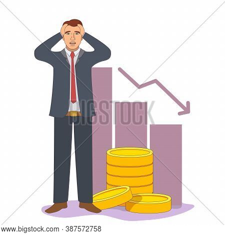 Economic Crisis. The Collapse Of The Economy. The Fall Of The Exchange. Golden Coins.