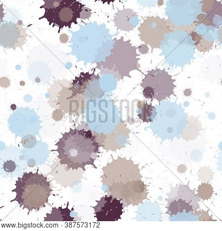 Watercolor Paint Transparent Stains Vector Seamless Wallpaper Pattern. Sprawling Ink Splatter, Spray