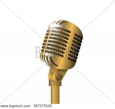 Retro Vintage Metal Microphone On Stand On White Background. Mic With Flare. Music, Voice, Record Ic