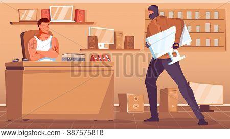 Thief In Black Mask Robbing Pawnshop Flat Vector Illustration