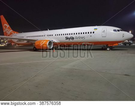 Borispol, Ukraine - September 6, 2020: Skyup Airlines Boeing 737-800 Aircraft On The Parking Area Of
