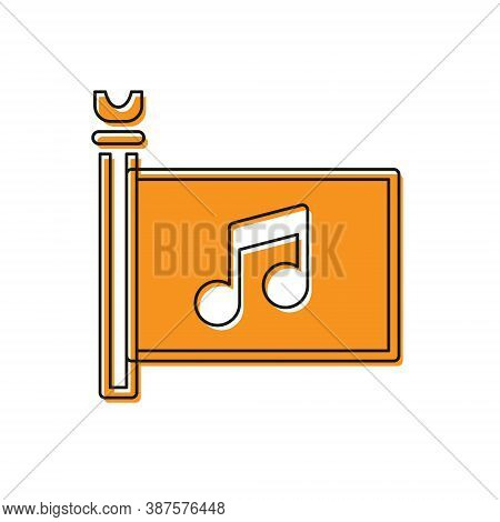 Orange Music Festival, Access, Flag, Music Note Icon Isolated On White Background. Vector