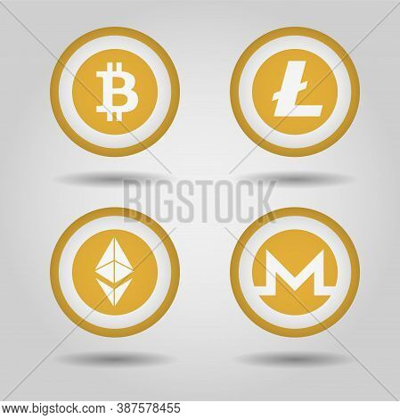 Bitcoin, Monero, Gram, Litecoin Logo Set. Web Icon. Digital Cryptocurrency Emblem. Vector Illustrati