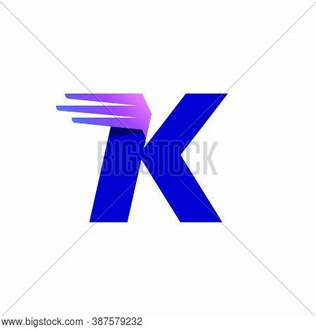 K Letter Logo With Fast Speed Lines Or Wings. Corporate Branding Identity Design Template With Vivid