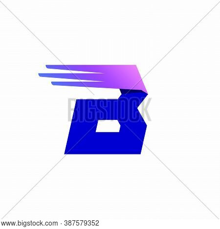 B Letter Logo With Fast Speed Lines Or Wings. Corporate Branding Identity Design Template With Vivid