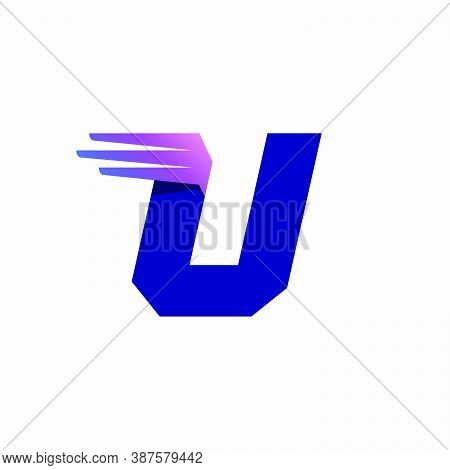 U Letter Logo With Fast Speed Lines Or Wings. Corporate Branding Identity Design Template With Vivid