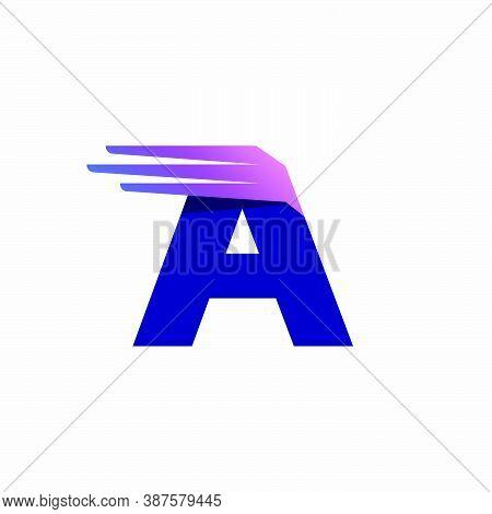 Letter A Logo With Fast Speed Lines Or Wings. Corporate Branding Identity Design Template With Vivid