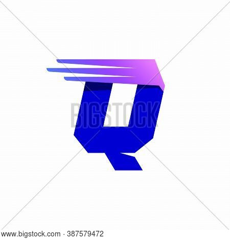 Q Letter Logo With Fast Speed Lines Or Wings. Corporate Branding Identity Design Template With Vivid
