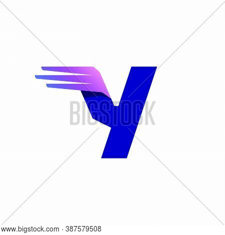 Y Letter Logo With Fast Speed Lines Or Wings. Corporate Branding Identity Design Template With Vivid