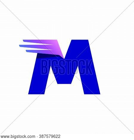 M Letter Logo With Fast Speed Lines Or Wings. Corporate Branding Identity Design Template With Vivid