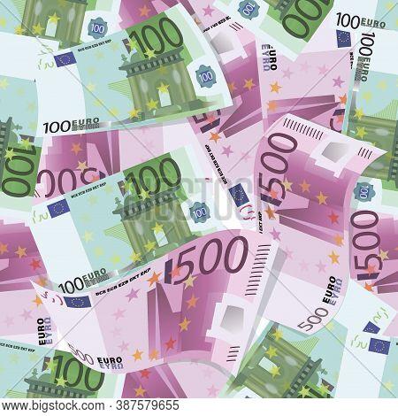 Euro. Background. 100, 500 Euro Bills. Money Pattern. Pile Of Cash. Euro Bill, Currencyis Lies.