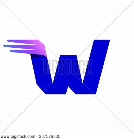 W Letter Logo With Fast Speed Lines Or Wings. Corporate Branding Identity Design Template With Vivid