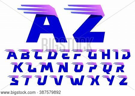 Alphabet Letters Set With Fast Speed Lines Or Wings. Corporate Branding Identity Design Template Wit
