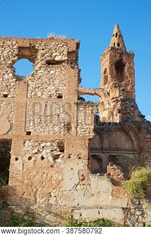 Ruins of Belchite, a town bombed during the Spanish Civil War, Zaragoza province, Aragon in Spain.