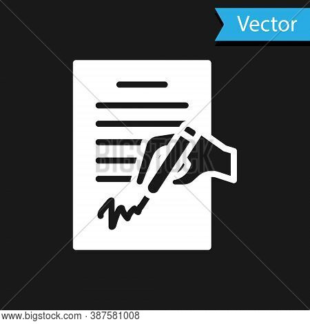 White Petition Icon Isolated On Black Background. Vector