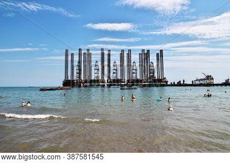 Caspian Beach, Azerbaijan - 13 Jul 2013: The Oil Rig In Azerbaijan, Caspian Sea