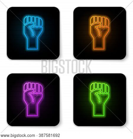 Glowing Neon Raised Hand With Clenched Fist Icon Isolated On White Background. Protester Raised Fist