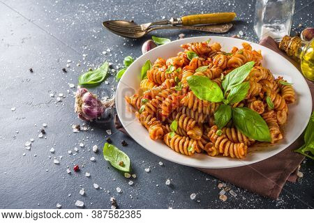 Fusilli Pasta With Tomato Sauce And Basil