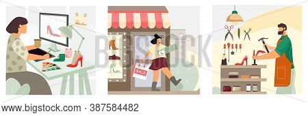 Shoes Concept 3 Flat Compositions With Women Footwear Designer Happy Customer Exits Store Craftsman