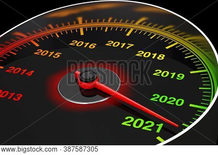 Conceptual 2021 New Year Speedometer On A Black Background. 3d Rendering