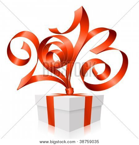 Vector red ribbon in the shape of 2013 and gift box. Symbol of New Year