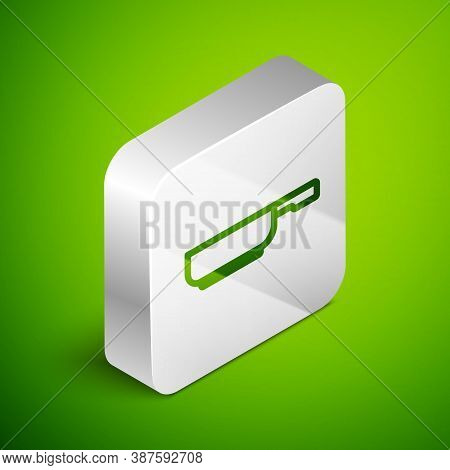 Isometric Line Frying Pan Icon Isolated On Green Background. Fry Or Roast Food Symbol. Silver Square